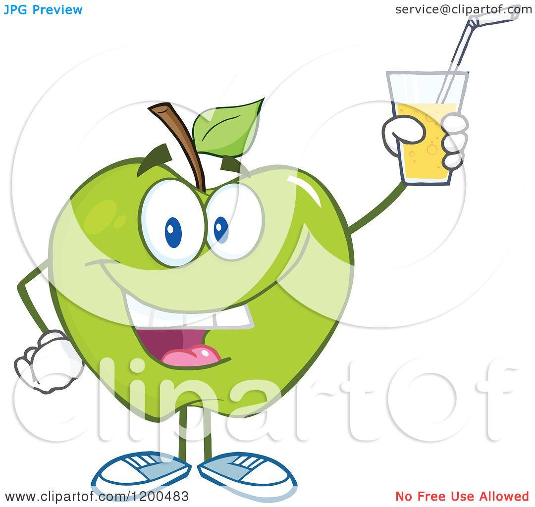 Green Juice Cartoon Cartoon of a Happy Green Apple