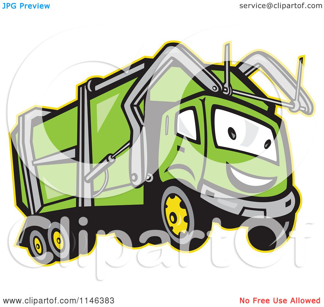 Free coloring pages garbage truck - Cartoon Of A Happy Green Garbage Truck Mascot Royalty Free Vector Clipart By Patrimonio