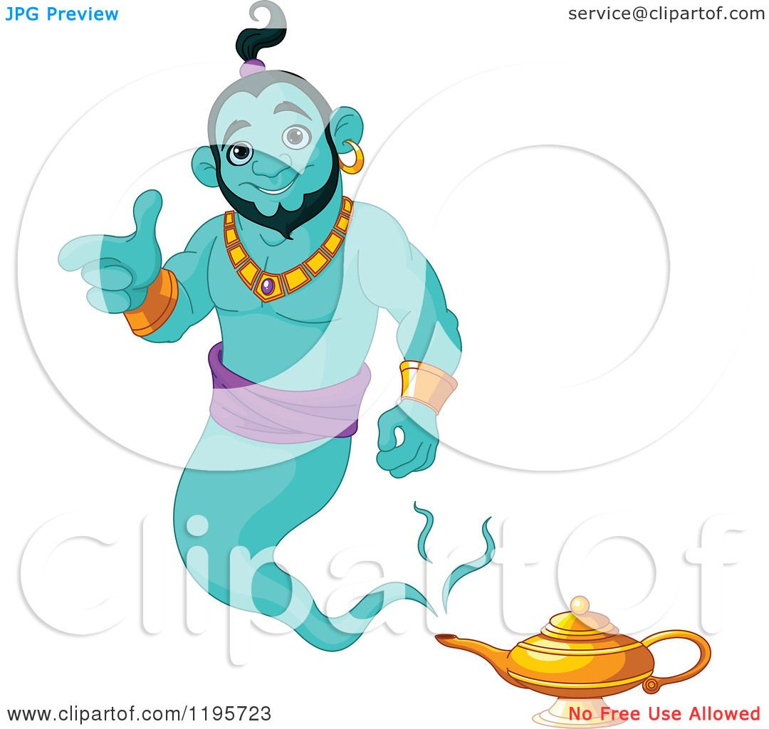 Cartoon of a Happy Green Genie Pointing and Floating over His Lamp ... for Aladdin Genie Clipart  117dqh