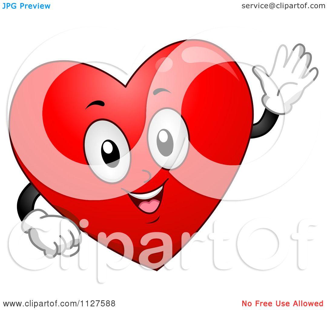 Cartoon Of A Happy Heart Mascot Waving - Royalty Free ...