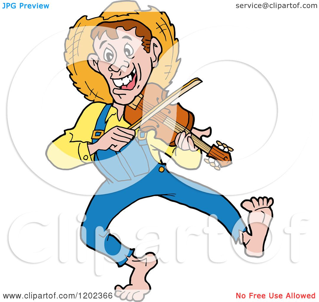 cartoon of a happy hillbilly man dancing and playing a fiddle