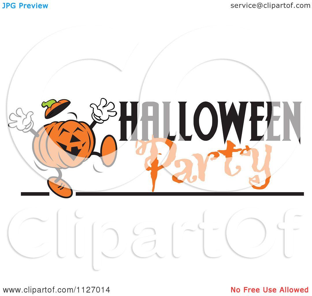 Cartoon Of A Happy Jackolantern Pumpkin With Halloween Party Text ...