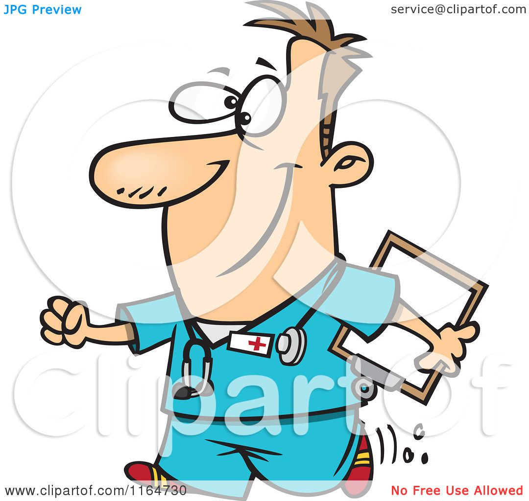 Cartoon of a Happy Male Nurse Carrying a Clipboard - Royalty Free ...