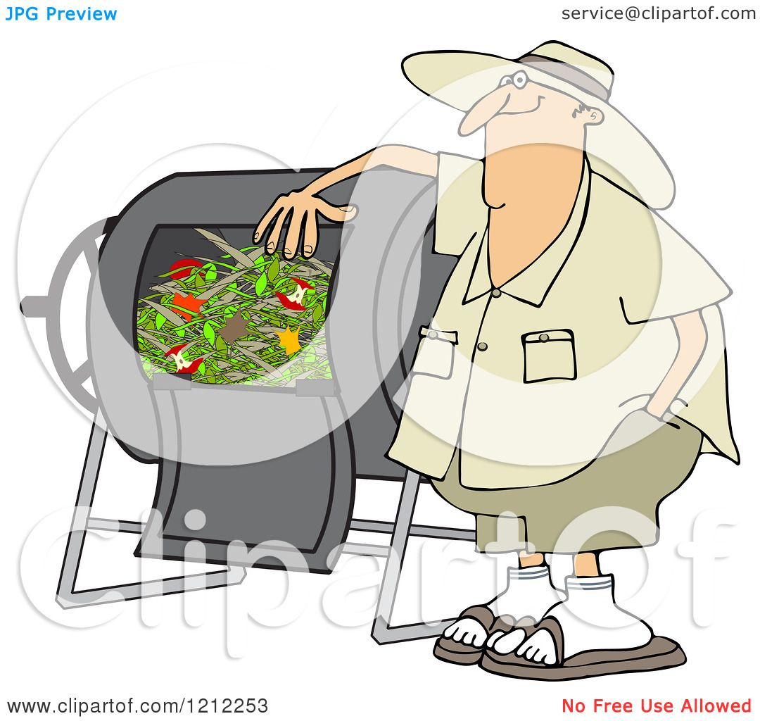 Cartoon Of A Happy Man Resting An Arm On His Composter Bin