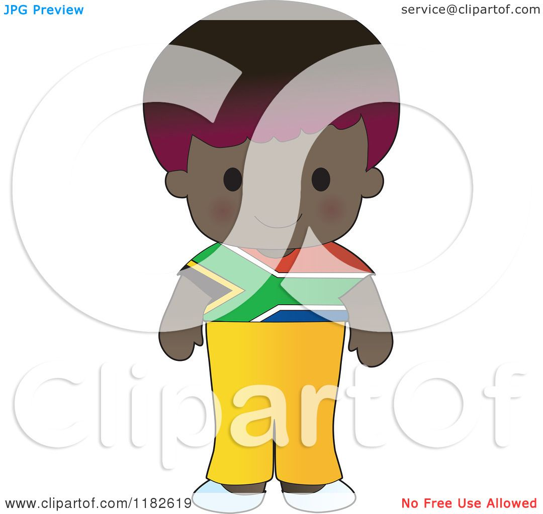 cartoon of a happy patriotic boy wearing south african flag
