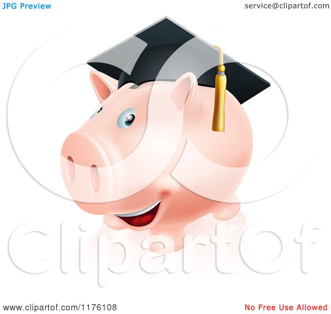 Cartoon Of A Happy Piggy Bank Wearing A Graduation Cap