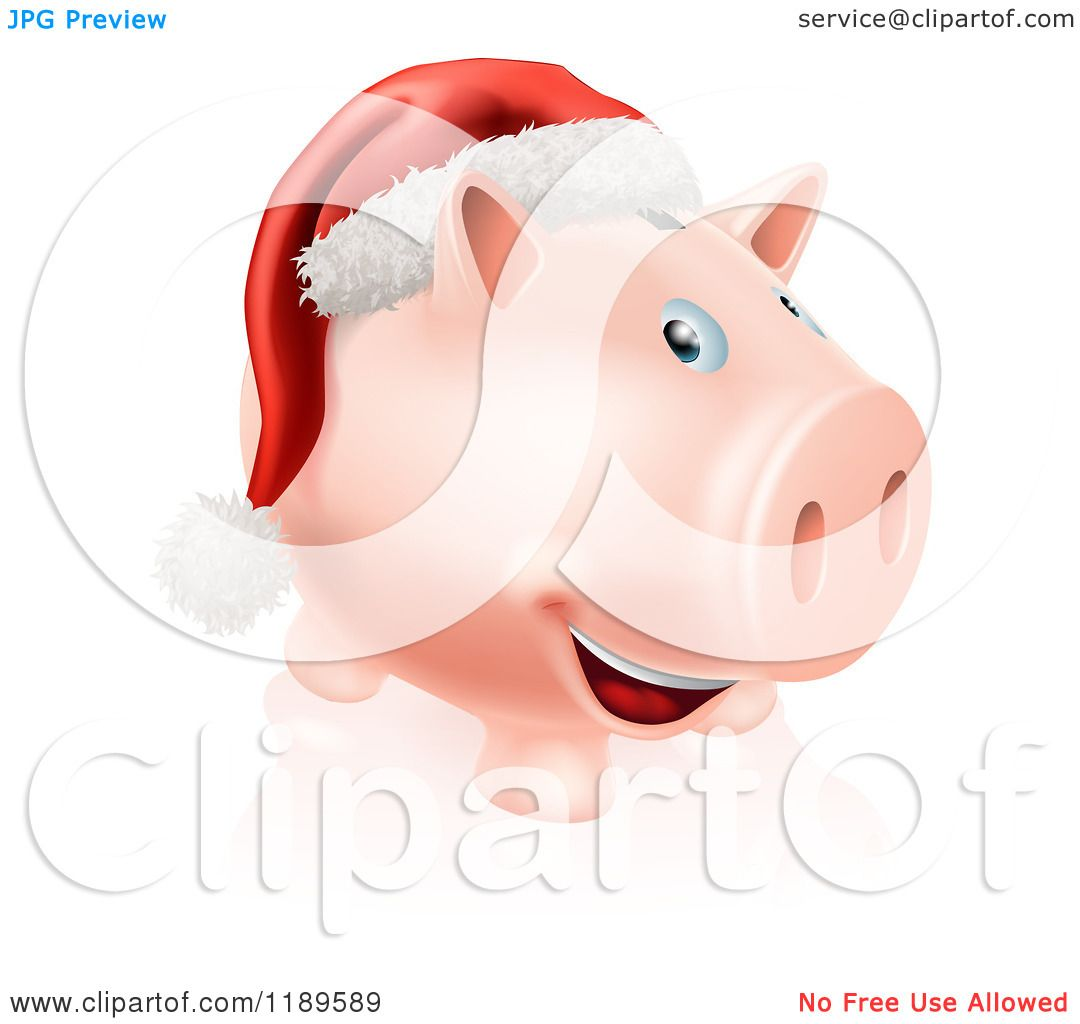 Cartoon Of A Happy Piggy Bank With A Christmas Santa Hat