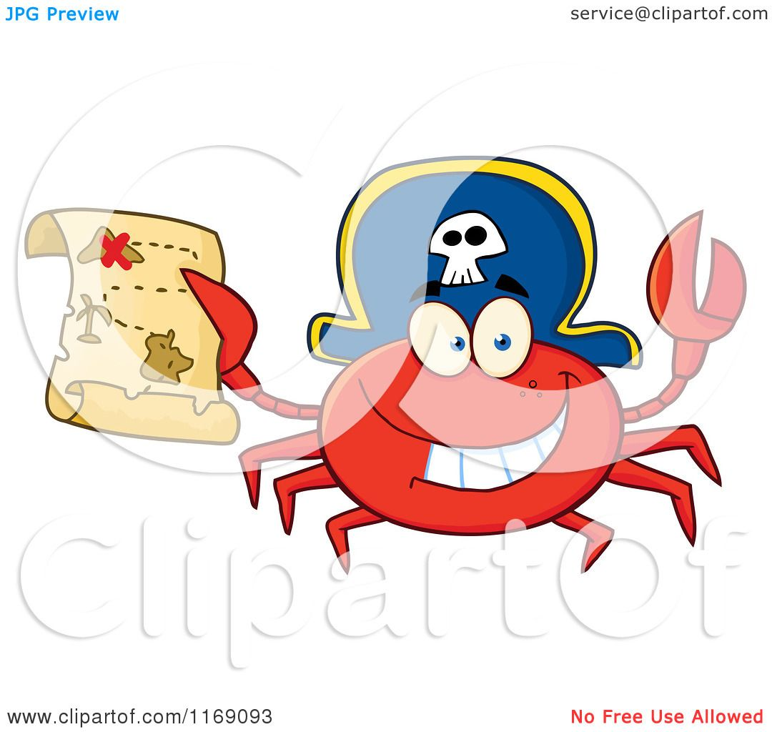 cartoon of a happy pirate crab holding a treasure map royalty free
