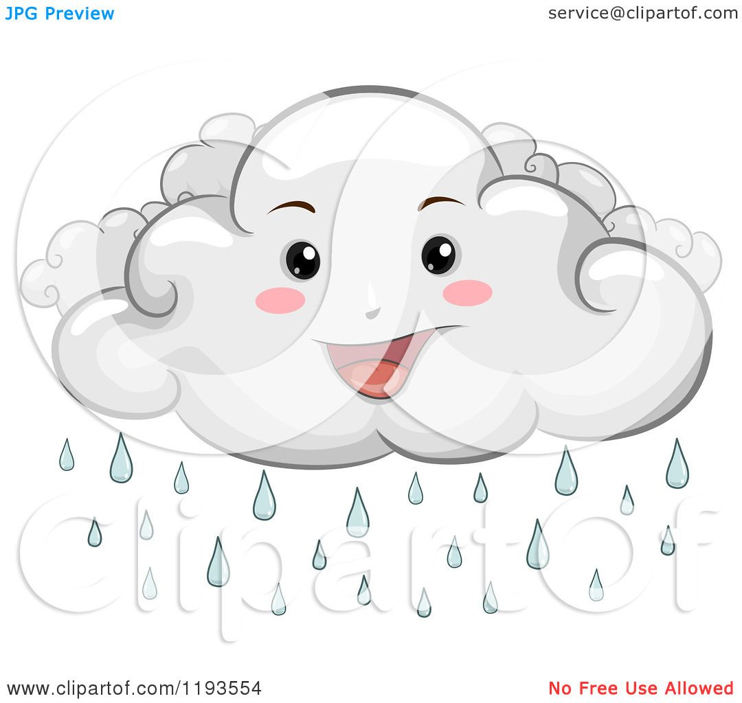 Cartoon of a Happy Rain Cloud Mascot - Royalty Free Vector Clipart by ...