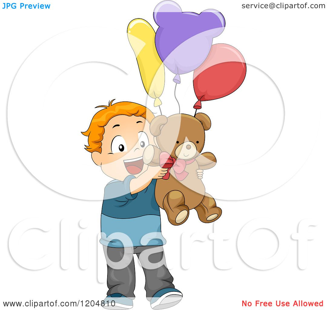 Cartoon of a Happy Red Haired White Boy Holding a Teddy Bear and ...
