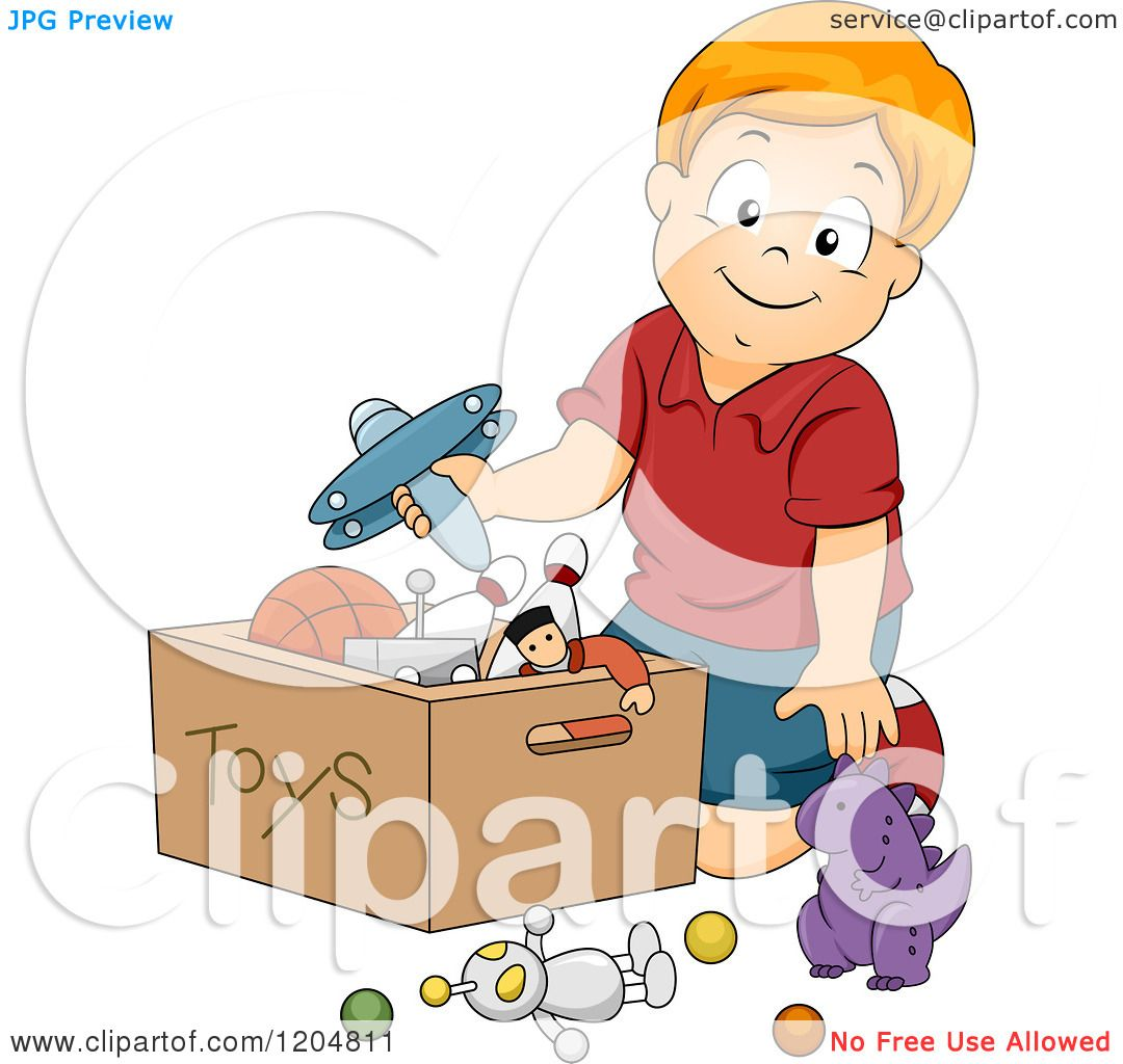 Cartoon of a Happy Red Haired White Boy Putting Toys in a ...