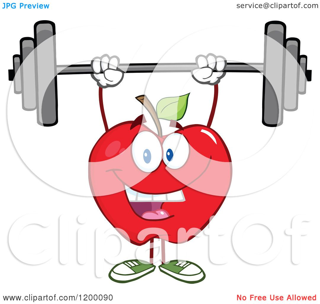 cartoon of a happy strong red apple mascot lifting a Strong Arm Clip Art Strong Boy Clip Art