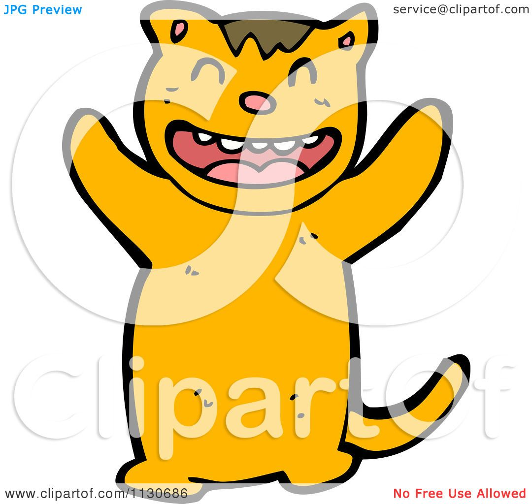 cartoon of a happy tiger royalty free vector clipart by