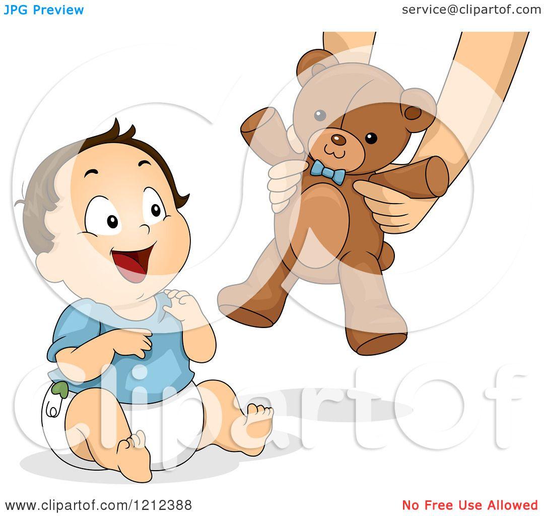 Cartoon Of A Happy Toddler Boy Receiving A Teddy Bear