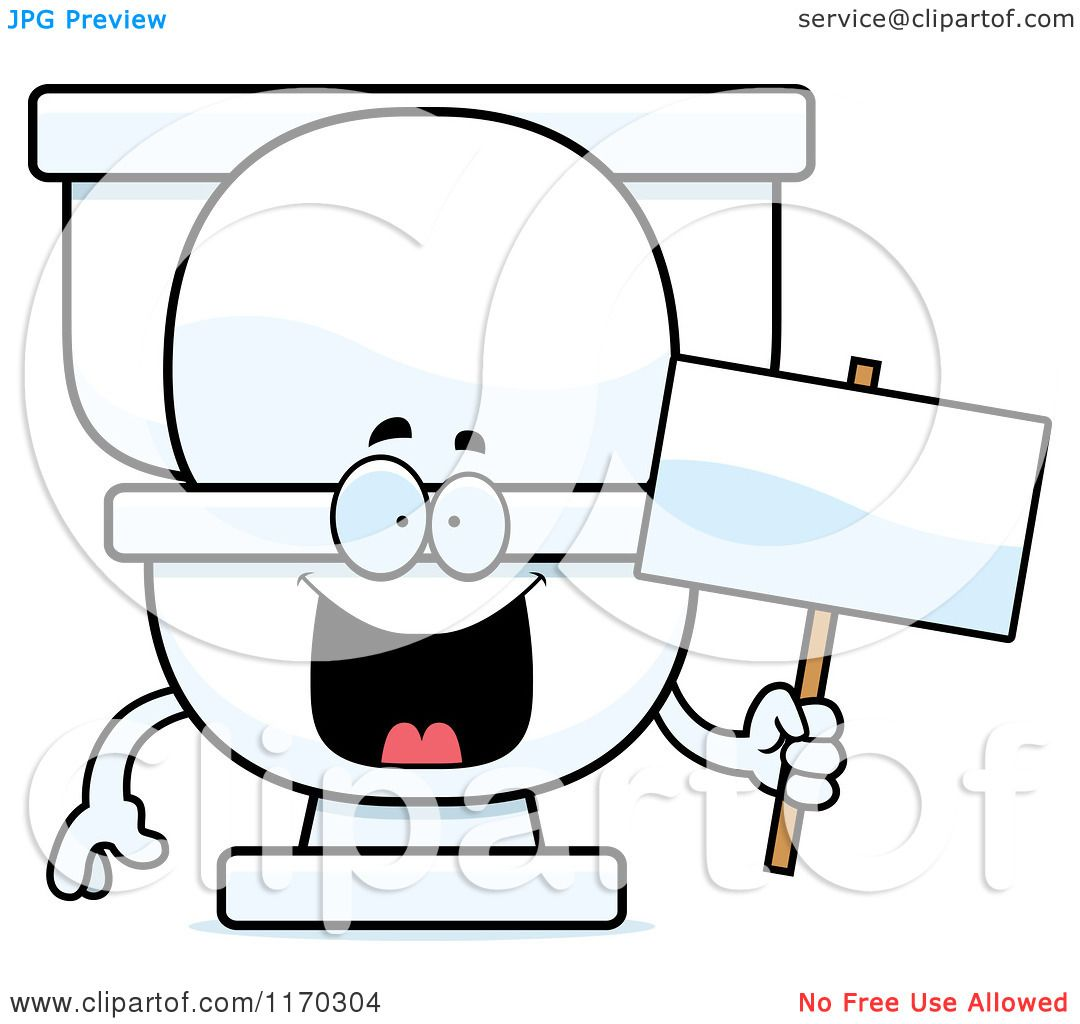 Cartoon of a Happy Toilet Mascot Holding a Sign - Royalty Free ...