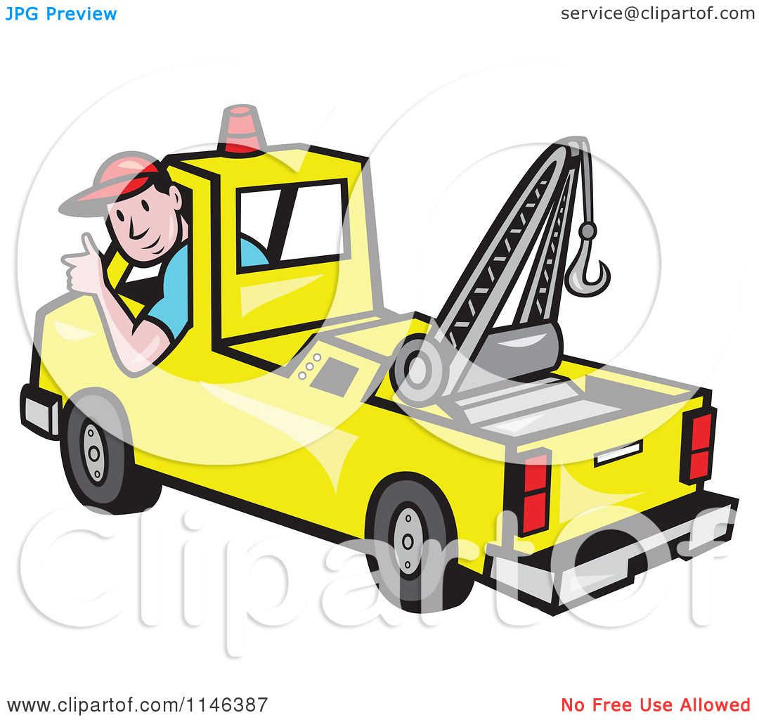 cartoon of a happy tow truck driver holding a thumb up royalty free vector clipart by. Black Bedroom Furniture Sets. Home Design Ideas