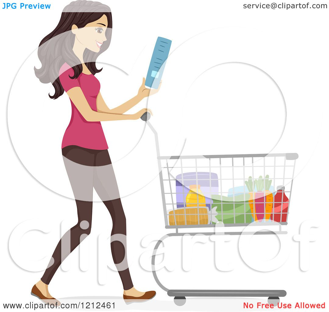 cartoon of a happy woman reading a shopping list and pushing a