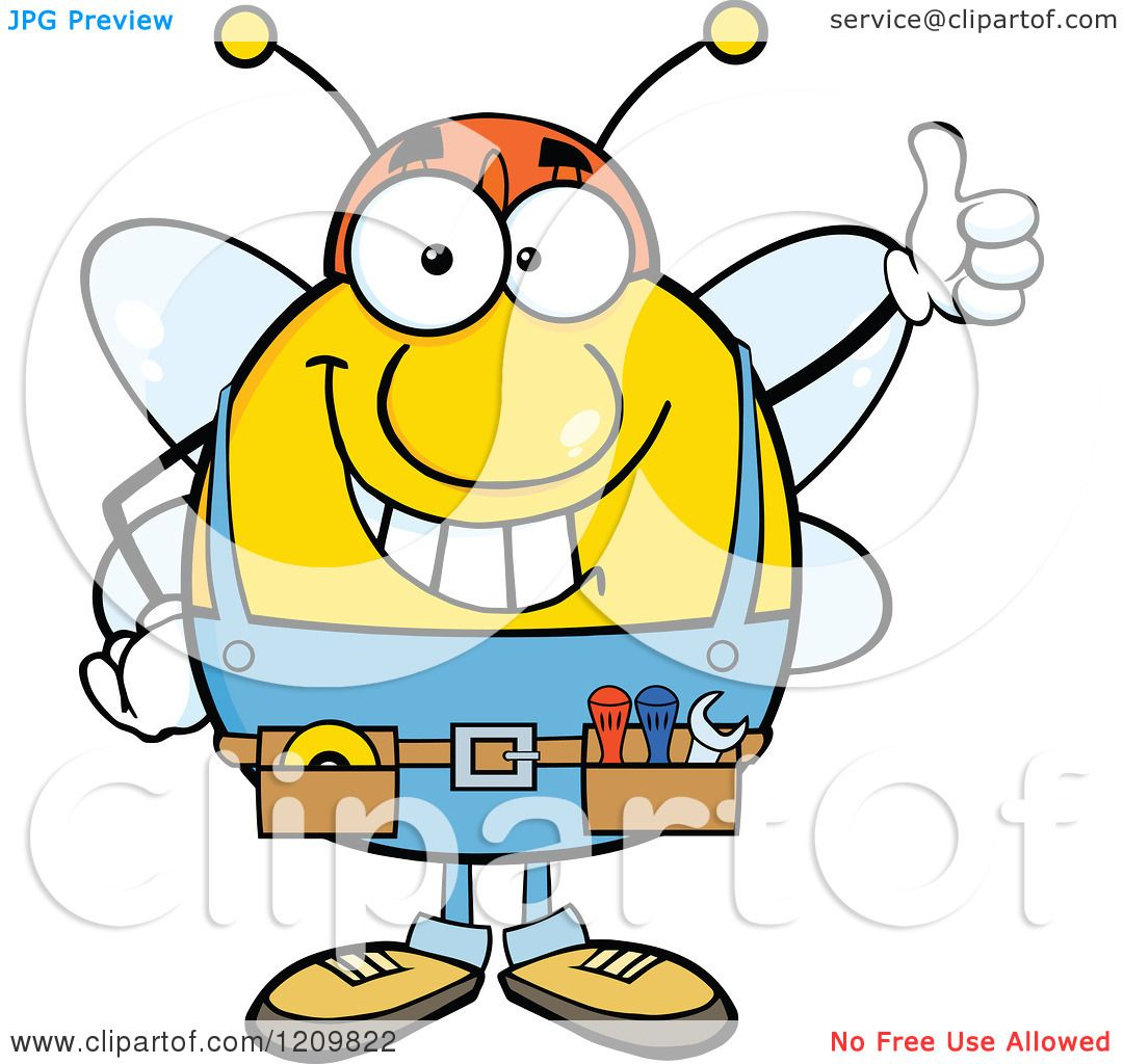 Cartoon Of A Happy Worker Bee Mascot Holding Thumb Up
