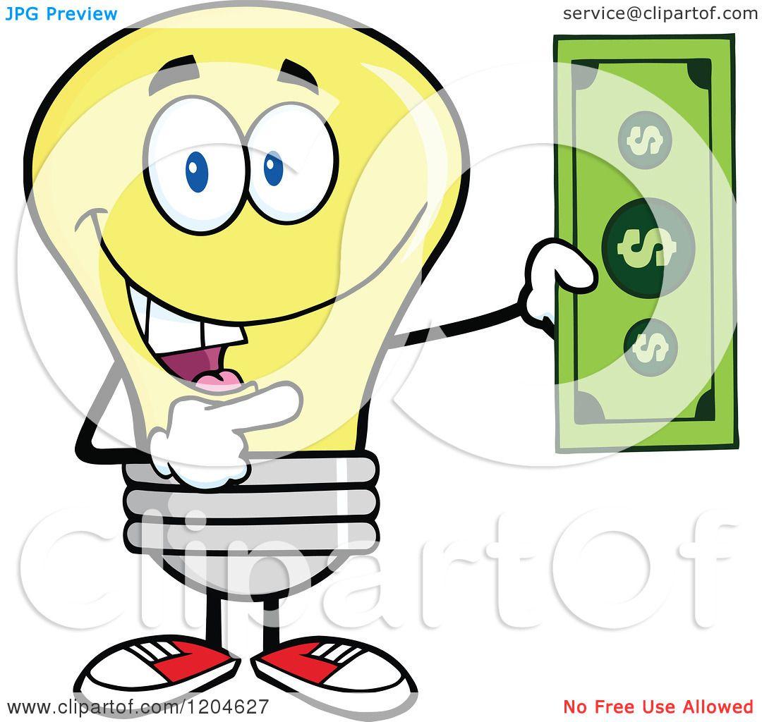 Cartoon Of A Happy Yellow Light Bulb Mascot Holding A