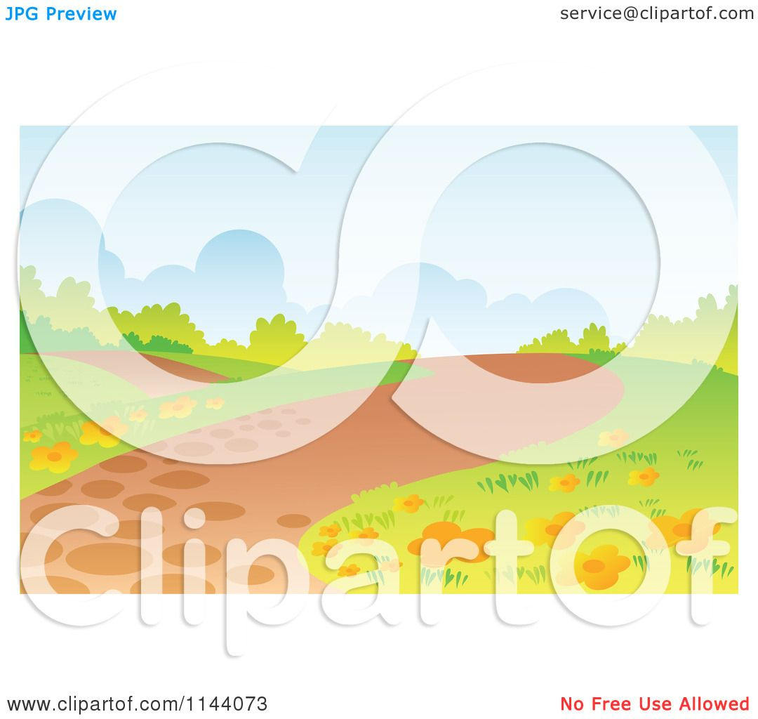 Cartoon Of A Hilly Path Landscape Background Royalty