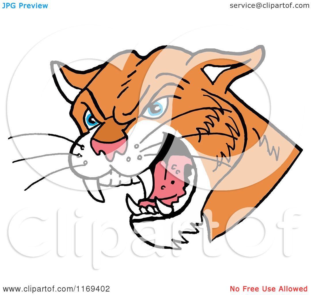 cartoon of a hissing cougar head royalty free vector clipart by rh clipartof com Cat Tracks Clip Art Cat Tracks Clip Art