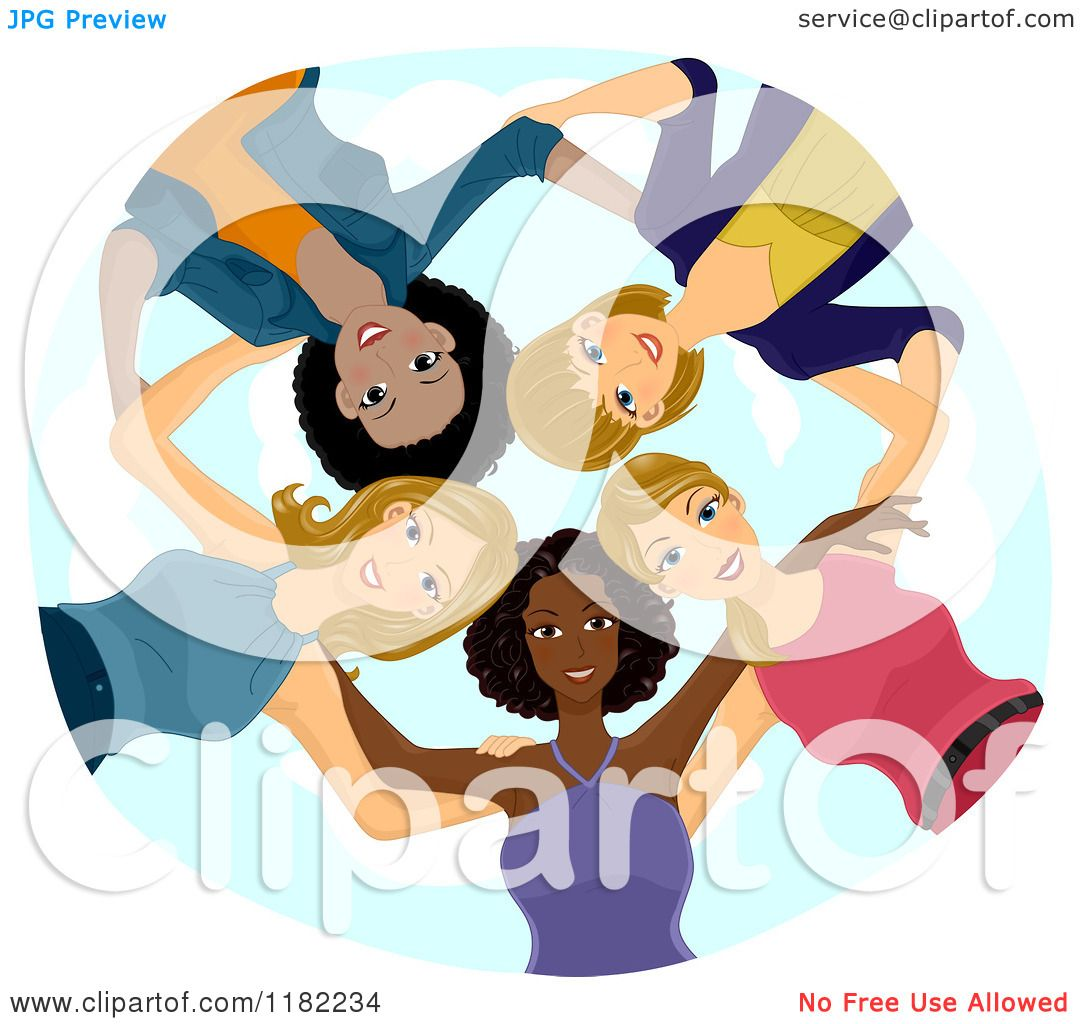 Cartoon Of A Huddled Group Of Diverse Women Looking Down