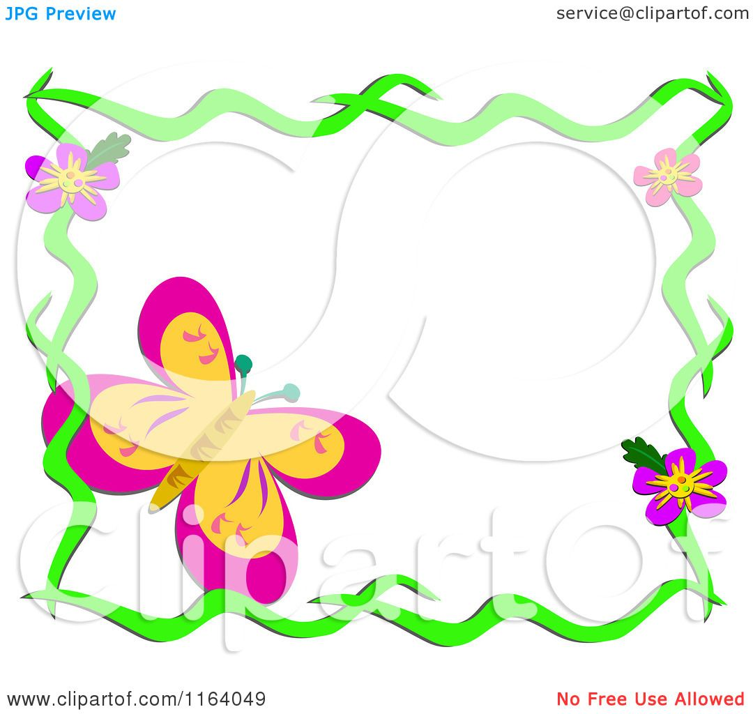 Cartoon Of A Large Butterfly In Floral Frame Royalty