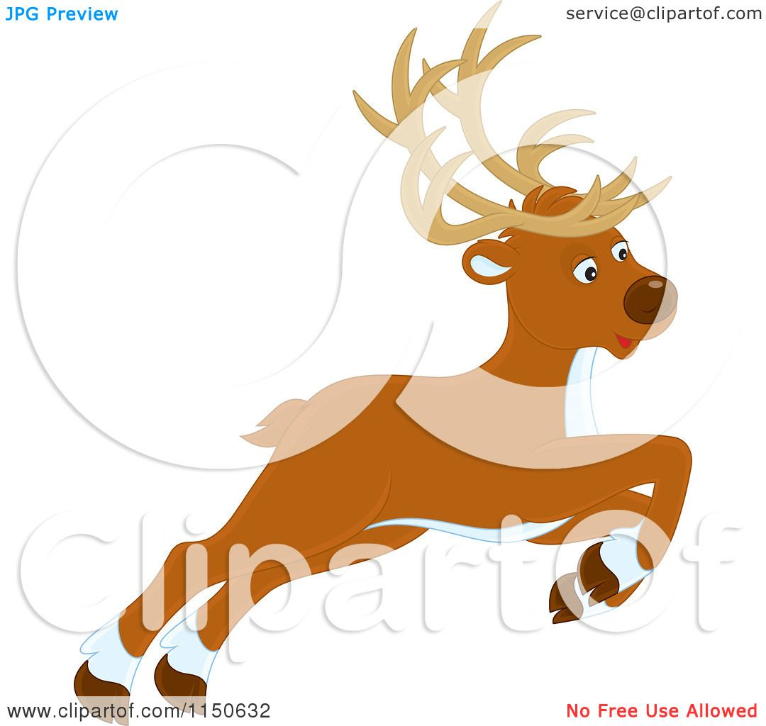 cartoon of a leaping or flying christmas reindeer royalty free