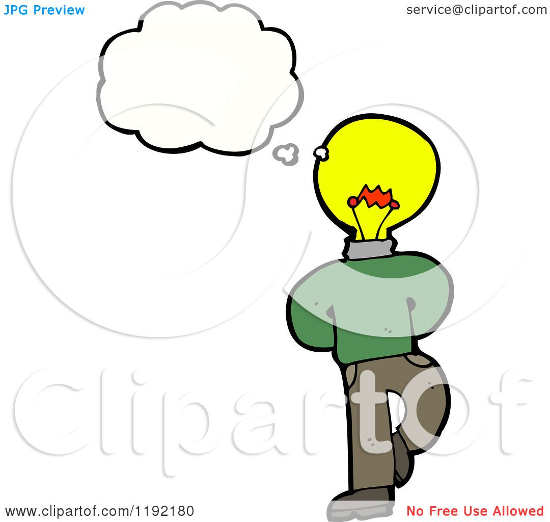 Cartoon Of A Lightbulb Person Thinking
