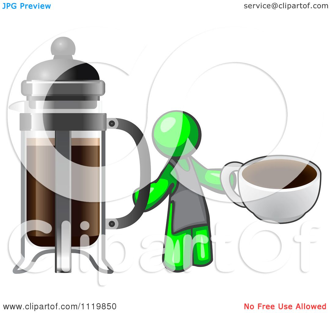 Cartoon Of A Lime Green Man Barista Holding A Cup Of ...