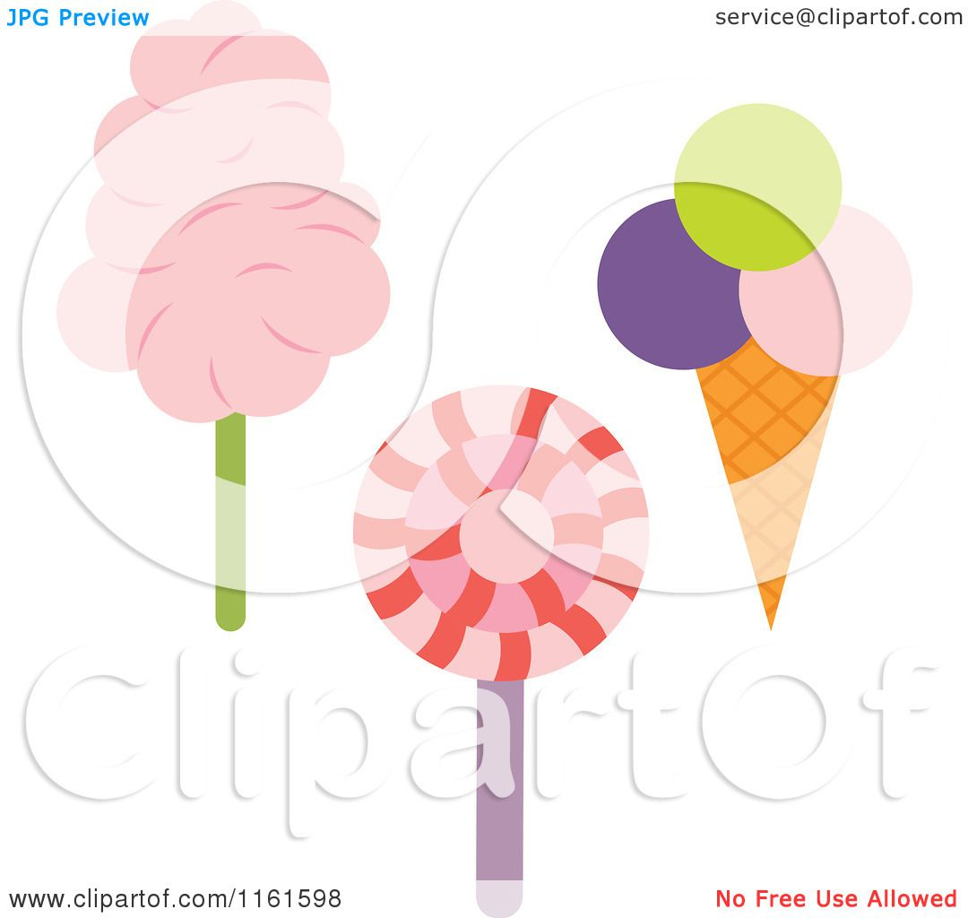 Cartoon of a Loli Pop Ice Cream Cone and Cotton Candy - Royalty Free