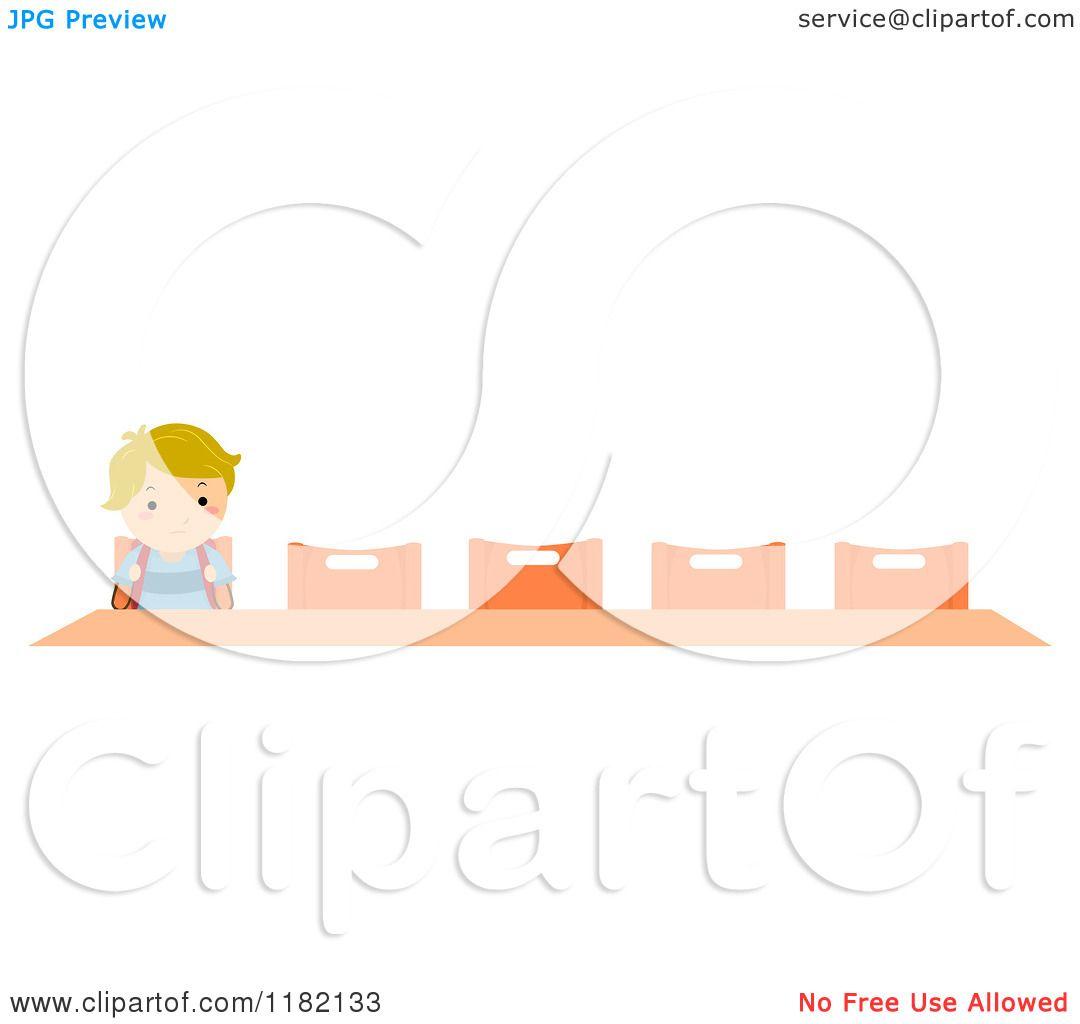 Cartoon of a lonely blond school boy sitting at a desk - Cartoon girl sitting alone ...