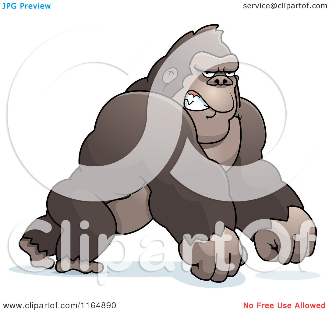Cartoon Of A Mad Gorilla Leaning Forward On His Knuckles