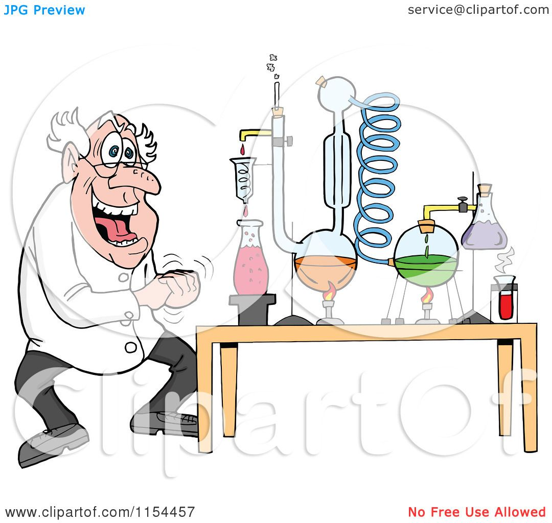 Cartoon of a Mad Scientist Laughing by a Chemistry Project - Royalty