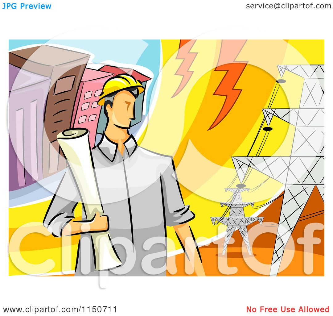 Cartoon Of A Male Electrical Engineer By Transmission Towers