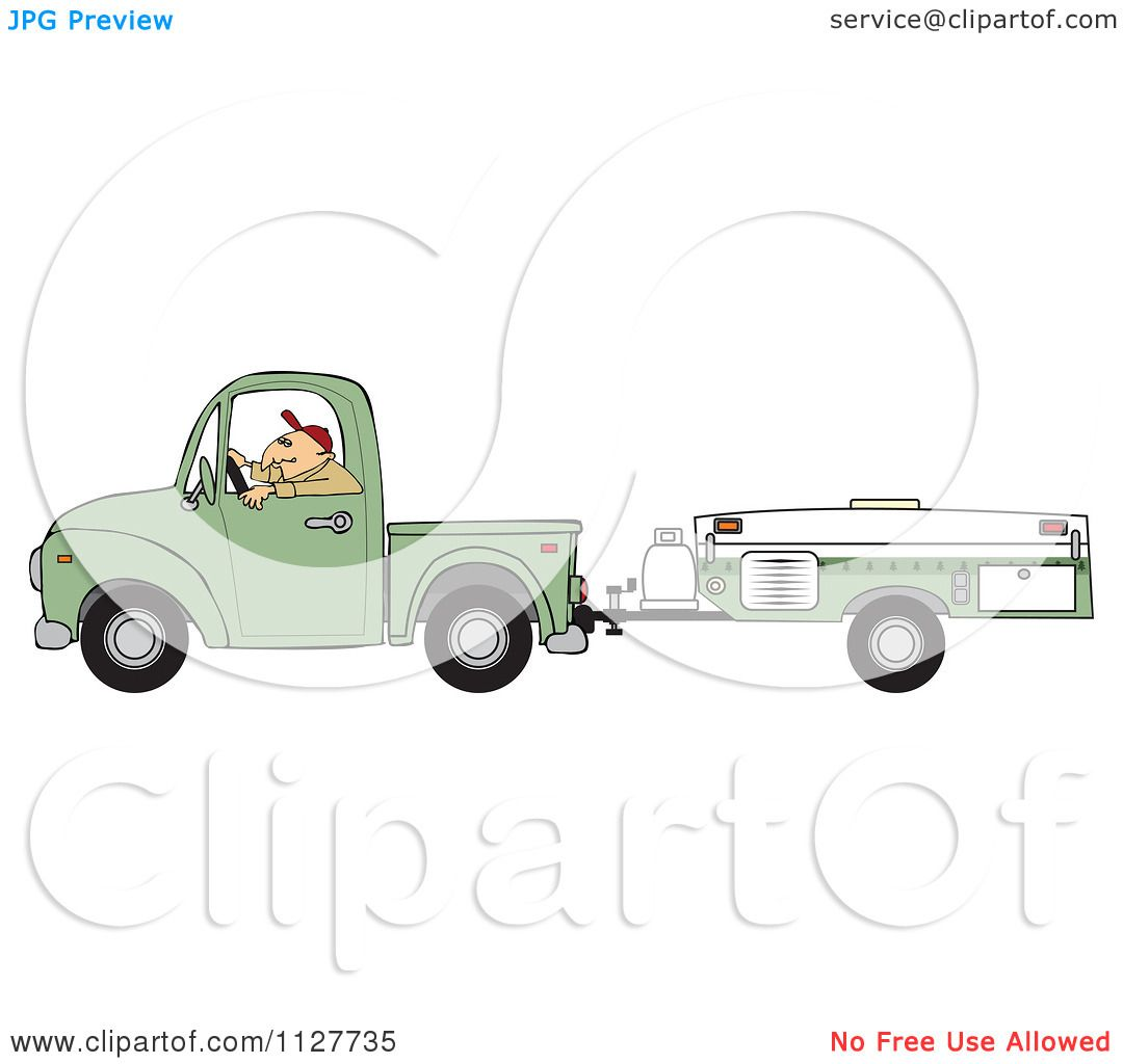 Cartoon Of A Man Driving A Pickup With A Tent Trailer