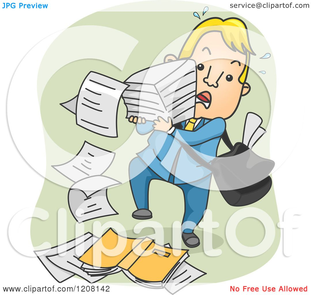 Cartoon of a Man Dropping a Stack of Paper - Royalty Free ...
