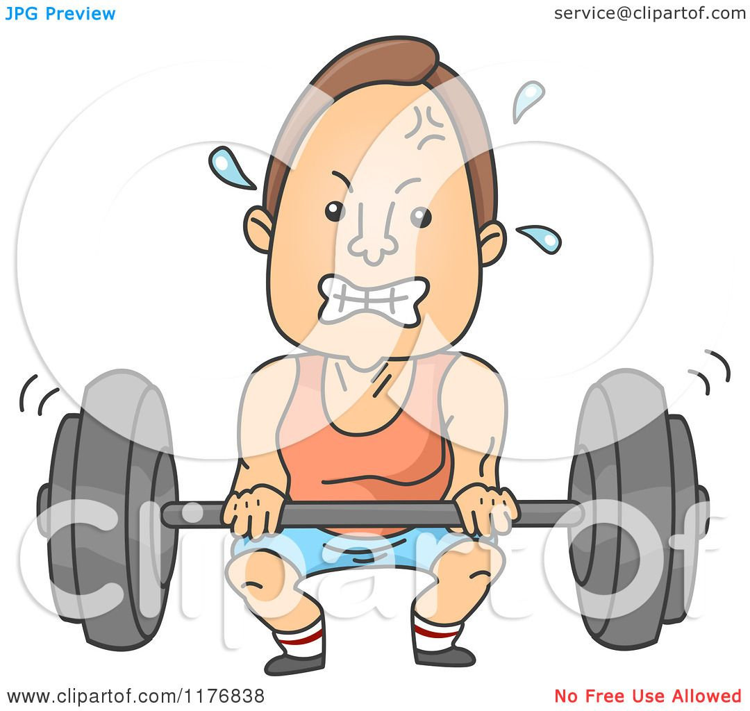 Cartoon Of A Man Gritting His Teeth And Lifting A Heavy Barbell Royalty Free Vector Clipart By