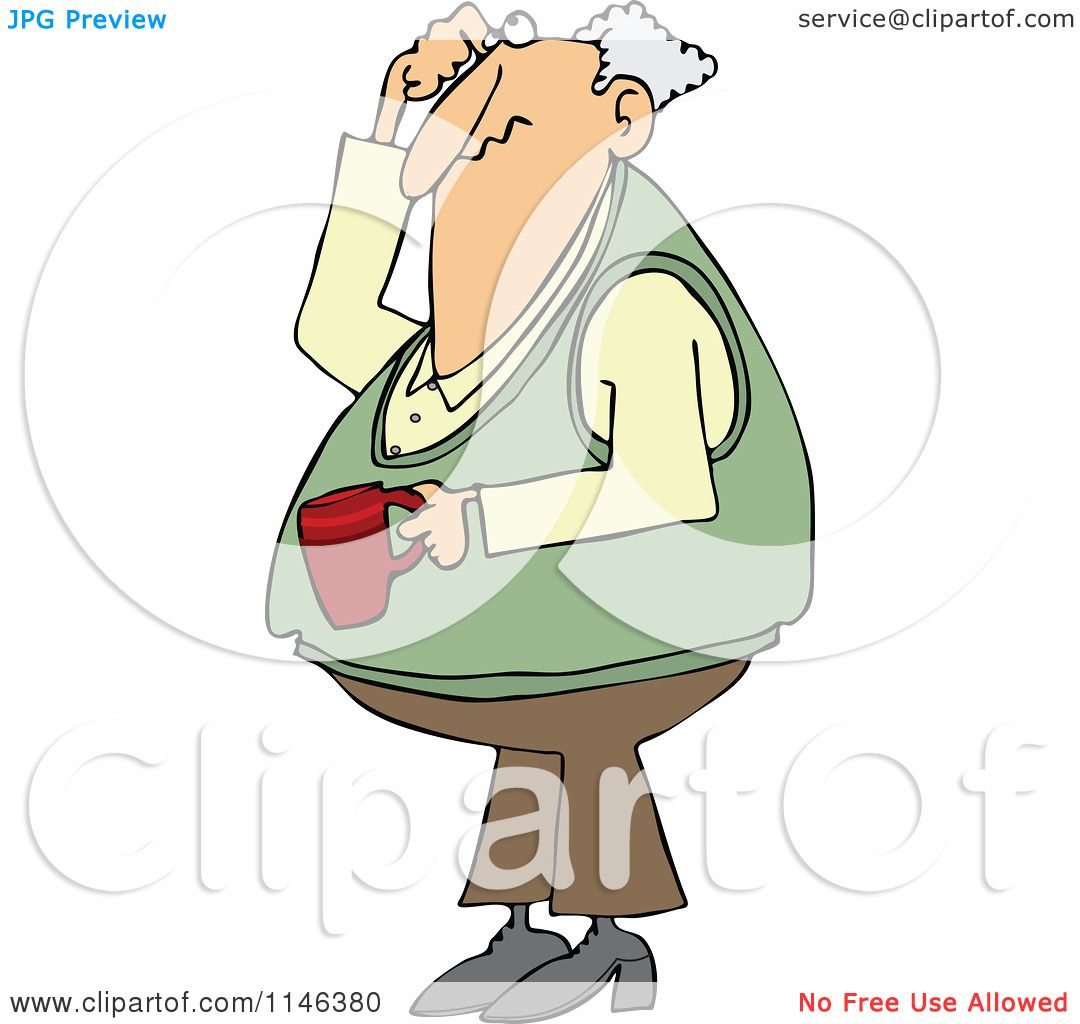 Larger preview vector clip art of a happy yellow coffee cup character - Cartoon Of A Man Holding Coffee Scratching His Head And Looking Up Royalty Free Vector Clipart Preview Clipart