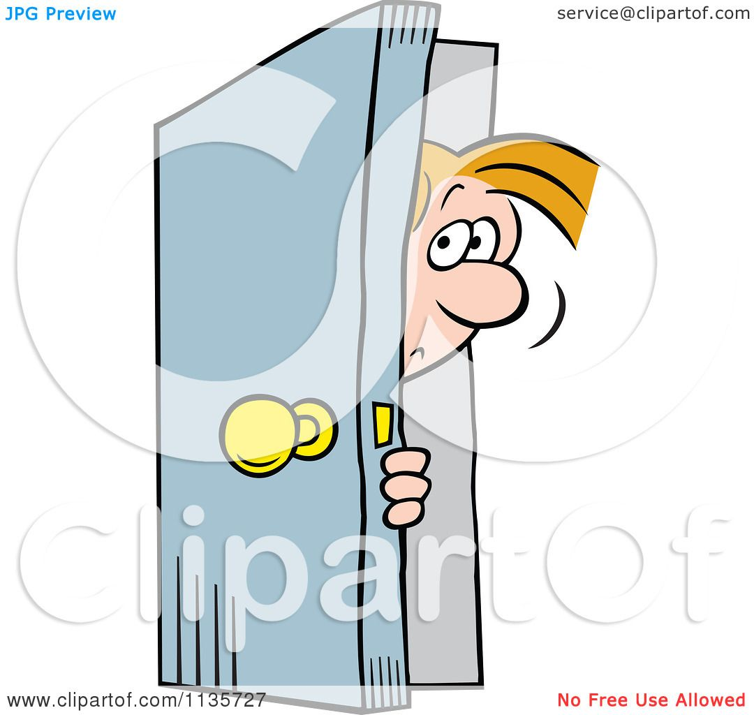 cartoon of a man peeking in a door royalty free vector clipart by rh clipartof com  royalty-free vector clipart illustration