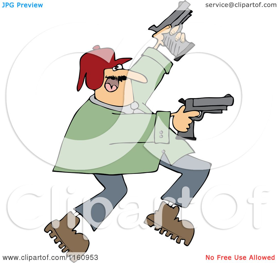 Cartoon Of A Man Running And Shooting Two Pistols