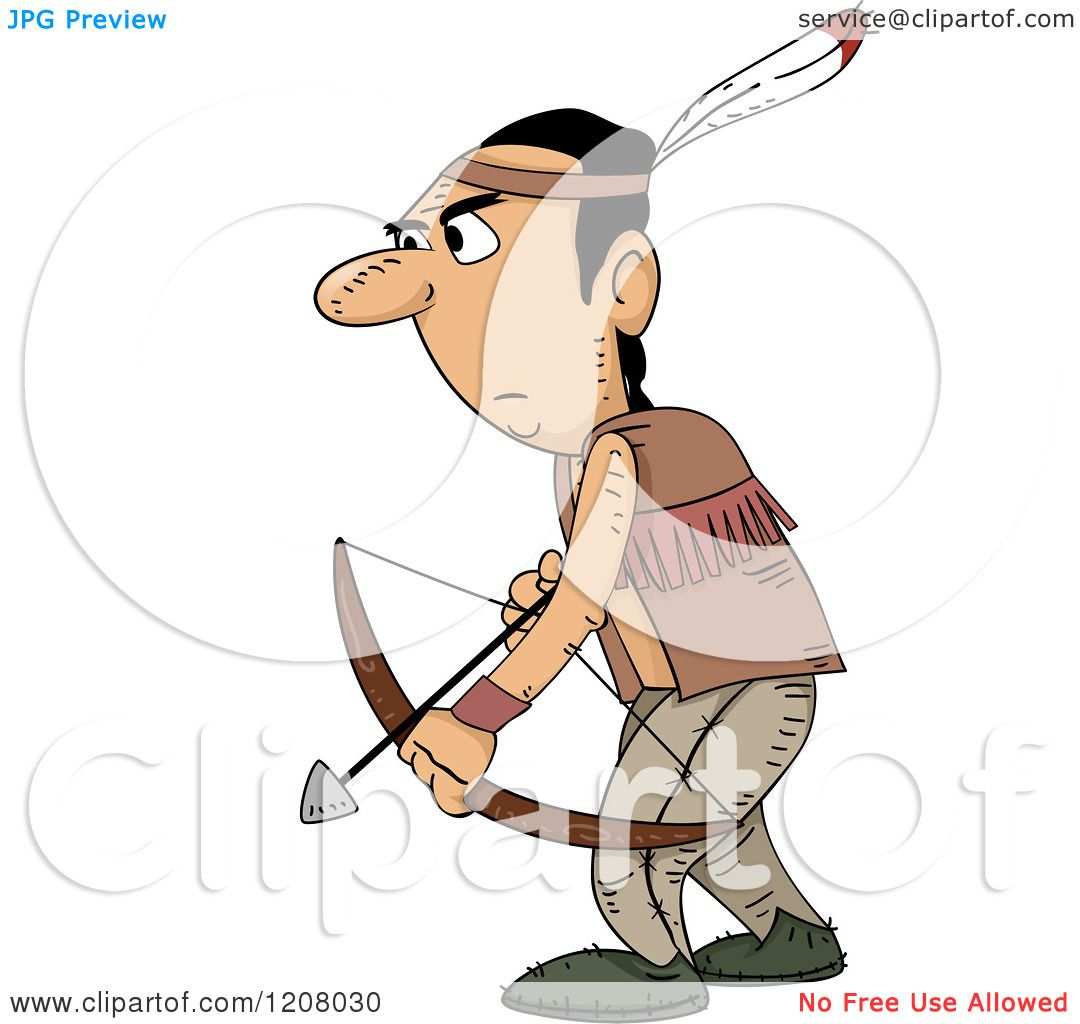Cartoon of a Native American Man Archer - Royalty Free ...