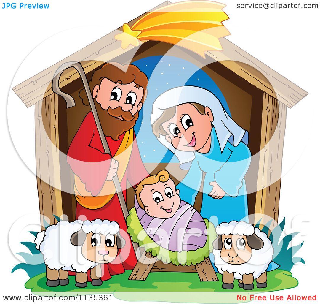 Cartoon Of A Nativity Scene - Royalty Free Vector Clipart ...