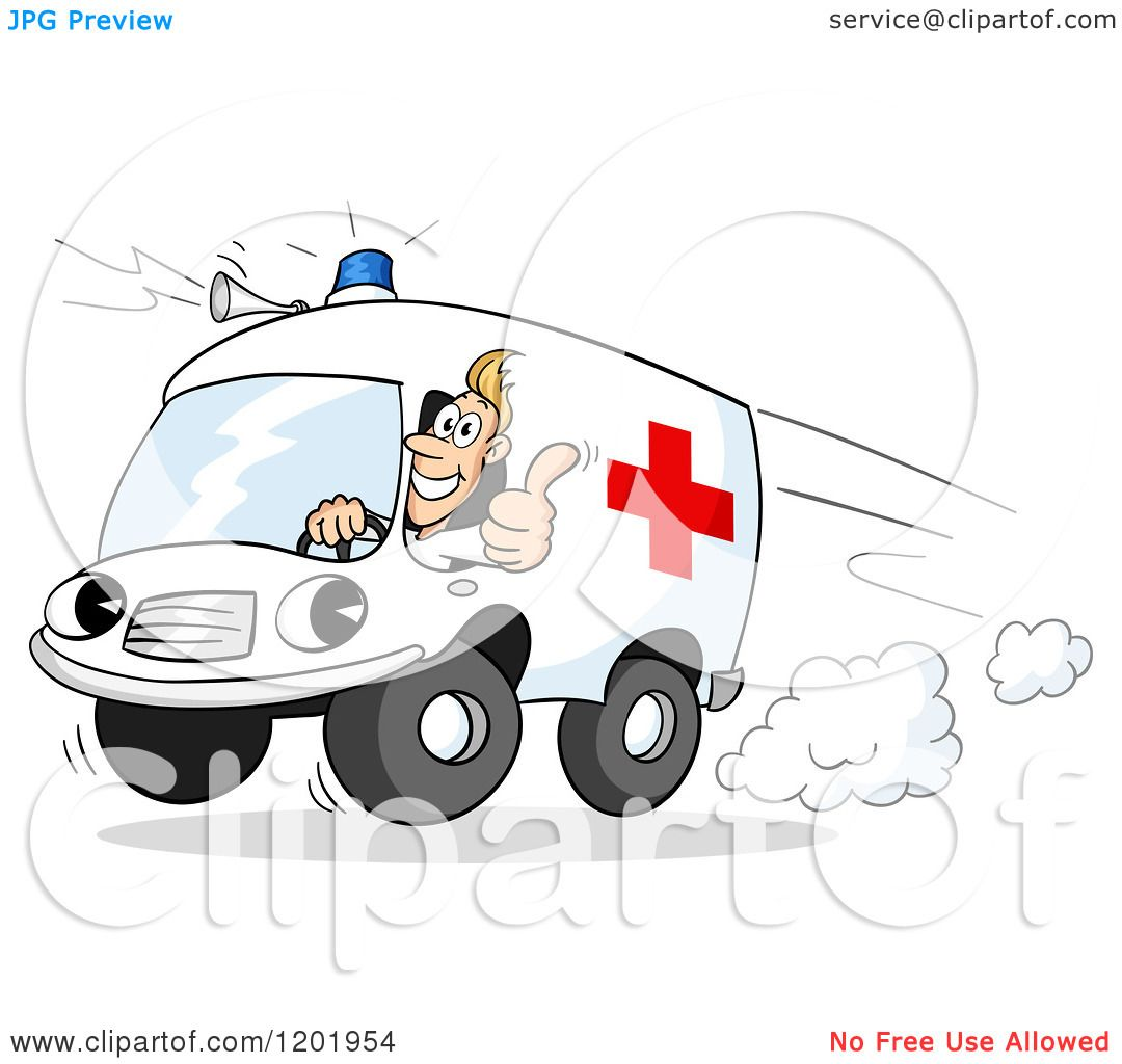 Cartoon Of A Paramedics Ambulance Driver Holding A Thumb