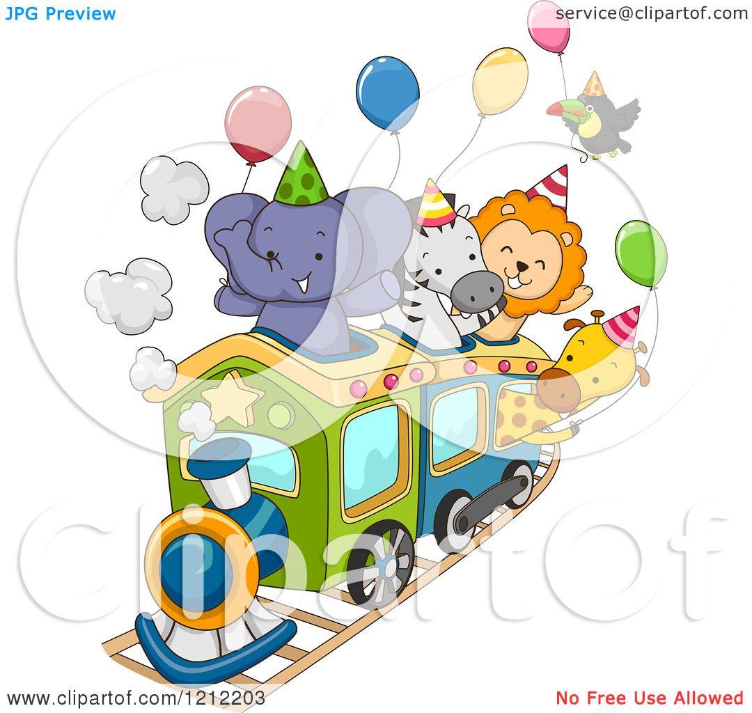 cartoon of a party train with an elephant zebra lion giraffe and