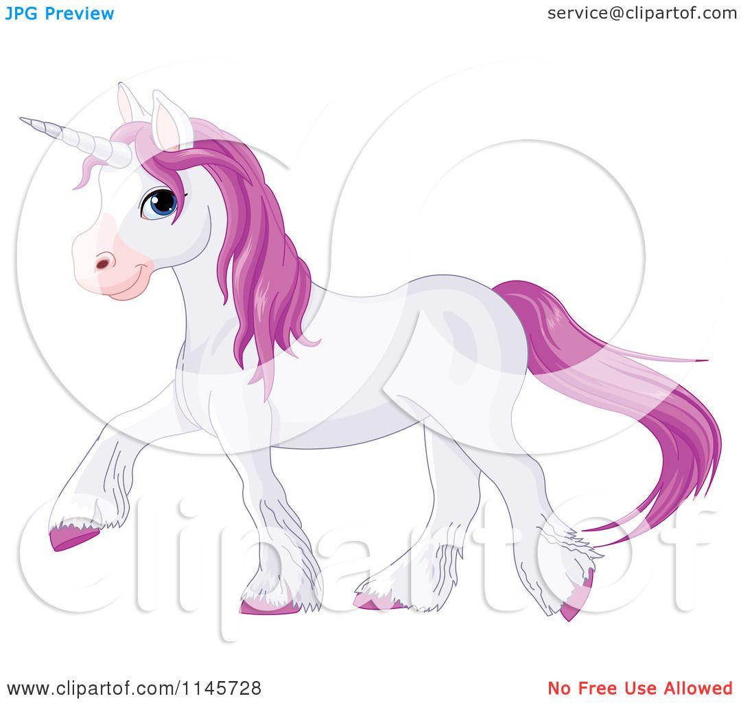 Cartoon Of A Pastel Purple Unicorn Walking Royalty Free