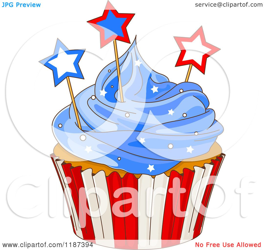 May The Fourth Be With You Clip Art: Cartoon Of A Patriotic Fourth Of July Cupcake With Blue