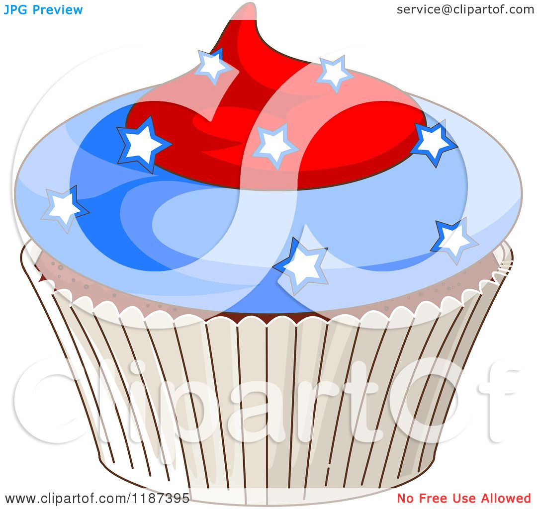 May The Fourth Be With You Cartoon: Cartoon Of A Patriotic Fourth Of July Cupcake With Stars