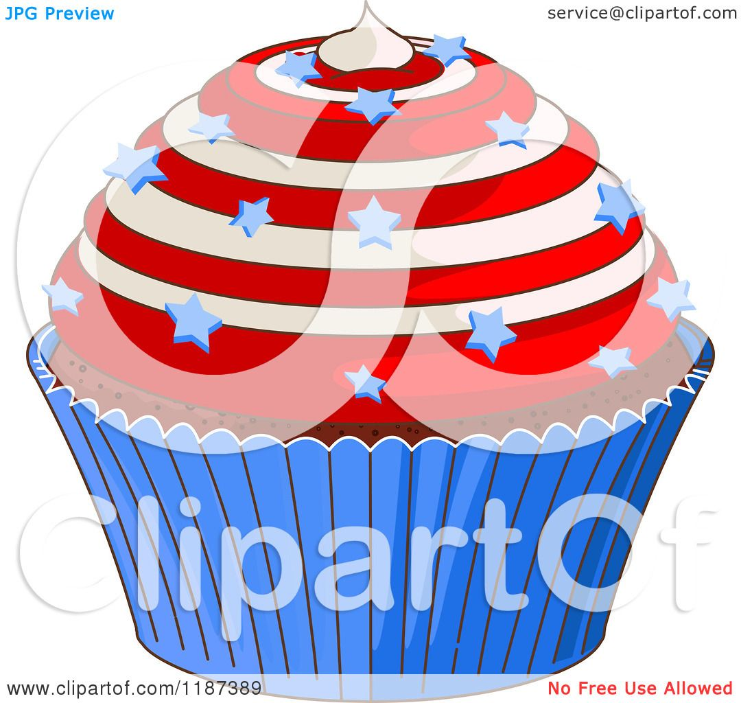 May The Fourth Be With You Cartoon: Cartoon Of A Patriotic Fourth Of July Cupcake With Swirl