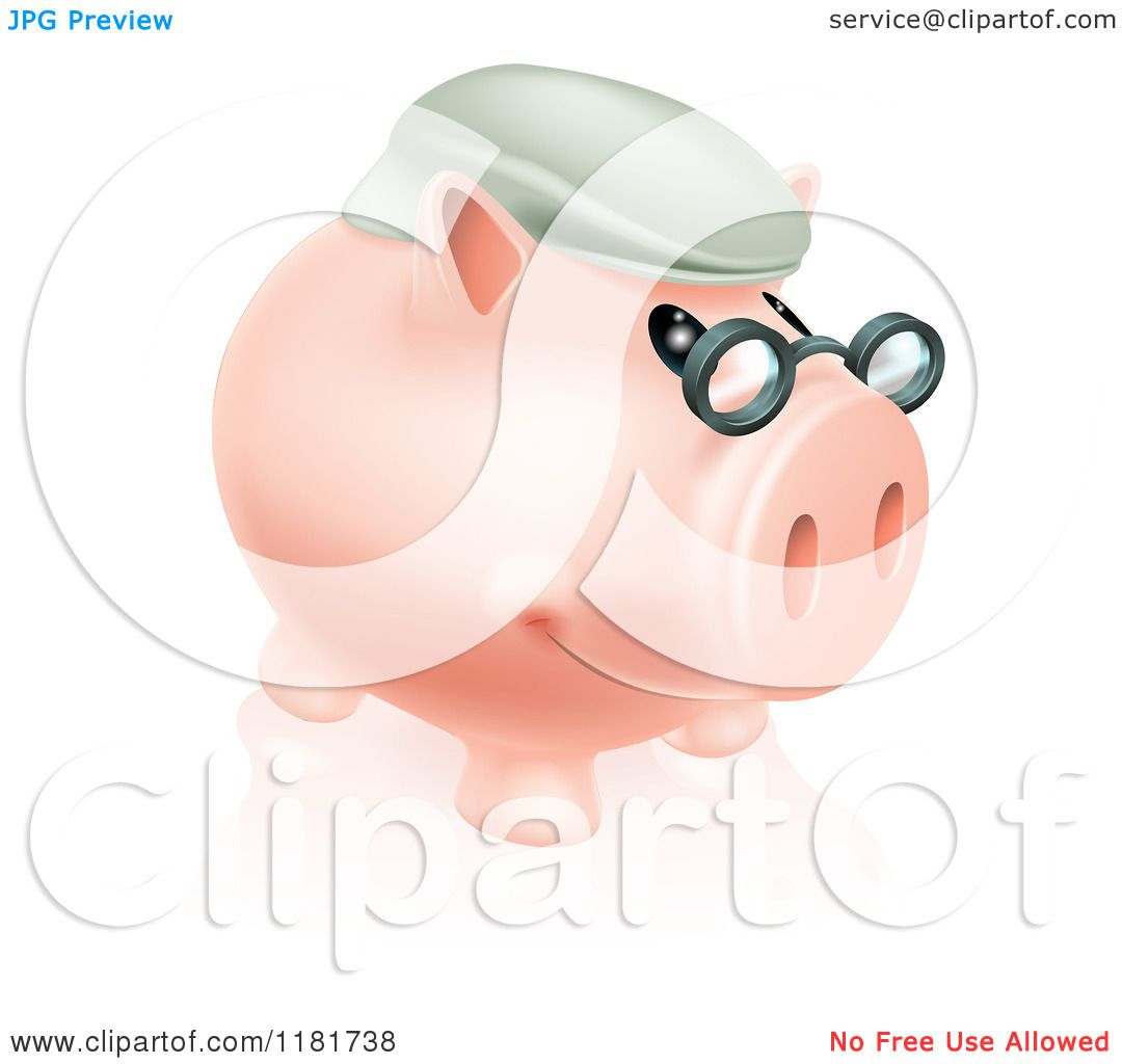 Cartoon Of A Pension Piggy Bank With Glasses And A Hat
